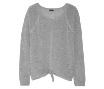 Tie-front Open-knit Sweater Hellgrau