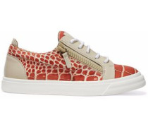 London croc-effect leather sneakers