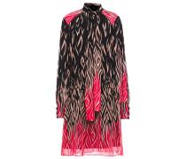 Pussy-bow Printed Silk-chiffon Mini Dress