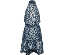 Cody Gerafftes Kleid aus Crêpe De Chine aus Seide mit Leopardenprint