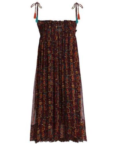 Shirred Printed Georgette Dress Multicolor