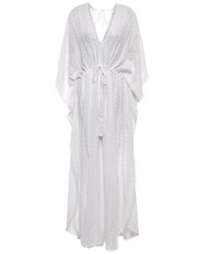 Hailey Gathered Broderie Anglaise Voile Kaftan Ivory Size ONESIZE