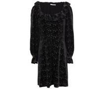Eliza Minikleid aus Samt mit Glitter-finish und Rüschen