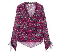 Lilian Ruffle-trimmed Floral-print Silk-georgette Blouse