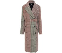 Double-breasted Prince Of Wales Checked Wool Coat