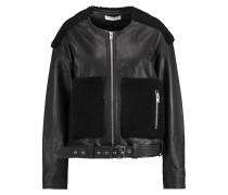 Bouclé-paneled Leather Jacket Schwarz