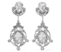 Silver-tone Crystal Clip Earrings Silber