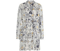 Gathered floral-print silk-crepe shirt dress