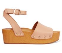 Brynn Leather Wedge Sandals Neutral