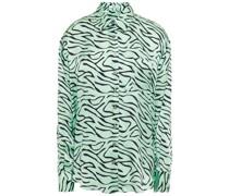 Iris Hemd aus Seidensatin mit Zebraprint