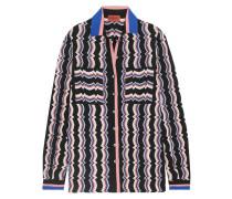 Wool-blend Crochet-knit Shirt Mehrfarbig