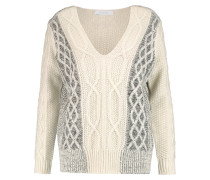 Cable-knit Cotton-blend Sweater Elfenbein