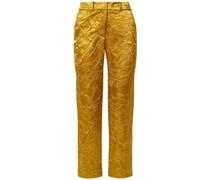 Willa Crinkled Satin-twill Straight-leg Pants