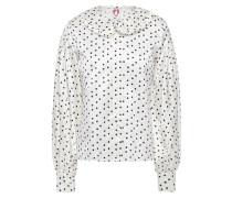 Ruffle-trimmed Floral-print Cotton And Silk-blend Satin Shirt