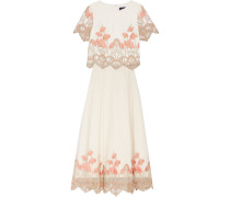 Embroidered Tulle Top And Maxi Skirt Set Wollweiß