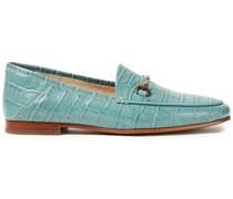 Laraine Embellished Croc-effect Leather Loafers