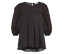 Lace-trimmed Pleated Cotton-voile Blouse