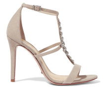 Embellished Nubuck Sandals Beige