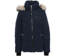 Faux Fur-trimmed Quilted Sateen Hooded Down Coat