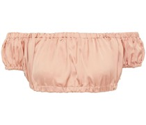 Schulterfreies Bikini-oberteil aus Seidensatin