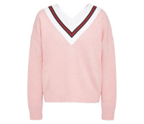 Intarsia-paneled Wool-blend Sweater