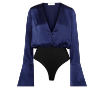 Woman Daria Silk-satin Bodysuit Indigo