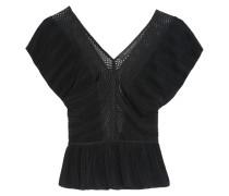 Grafton Mesh-paneled Ribbed Stretch-knit Top Schwarz