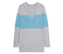 Paneled cashmere hooded sweater