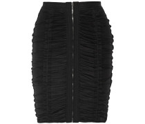 Ruched Stretch-tulle Mini Skirt Schwarz