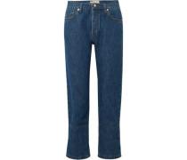 Woman Cropped Boyfriend Jeans Mid Denim