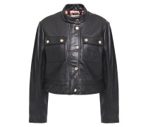 Teodor Cropped Quilted Leather Jacket