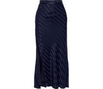 Striped Silk-satin Jacquard Midi Skirt