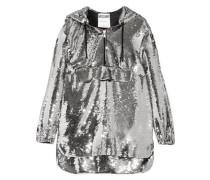 Hooded sequinned chiffon sweatshirt