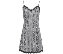 Lace-trimmed printed cvady mini dress