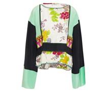 Verzierte Bluse aus Glänzendem Jacquard und Crêpe De Chine