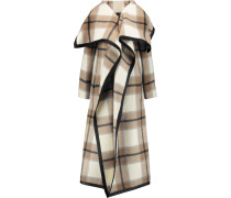 Azha Checked Wool And Mohair-blend Coat Beige