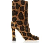 Leopard-print velvet boots
