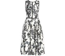 Pleated Printed Cotton-poplin Dress Weiß
