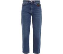 Hoch Sitzende Cropped Jeans mit Geradem Bein mit Verzierung