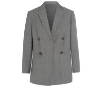 Double-breasted Wool And Linen-blend Blazer Grau