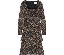 Tiered Metallic Floral-print Fil Coupé Georgette Dress