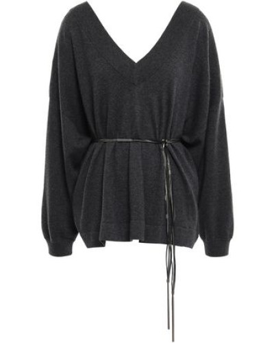 Woman Belted Bead-embellished Cashmere Sweater Charcoal
