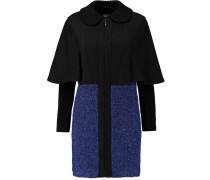 Paneled Matelassé Wool-blend, Felt And Bouclé-tweed Coat Königsblau