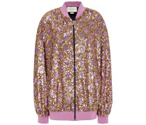 Lamé-trimmed Sequined Tulle Bomber Jacket