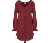 Tassel-trimmed Gathered Georgette Mini Dress Bordeaux