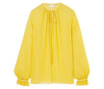 Gathered Silk-georgette Blouse