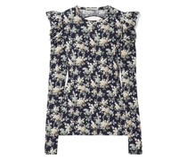 Open-back Floral-print Cotton-jersey Top
