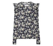Oberteil aus Baumwoll-jersey mit Floralem Print und Rückenausschnitt