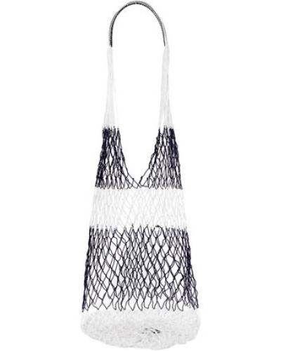 Two-tone Macramé Shoulder Bag Navy Size --