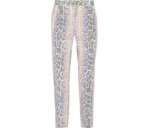 Soren Snake-print Washed-silk Tapered Pants Mehrfarbig